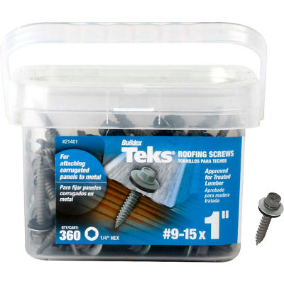 "ITW Teks Roofing Screw - #9-15 x 1"" - Hex Washer Head - Sharp Point - Pkg of 360 - 21401"