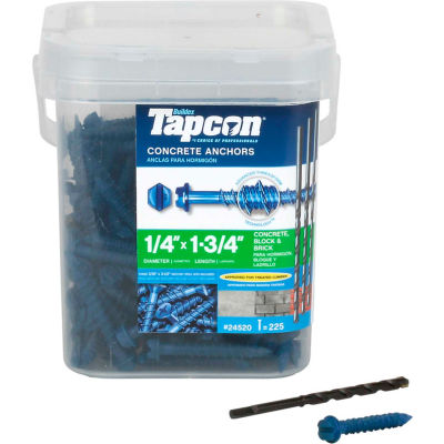 "ITW Tapcon Concrete Anchor - 1/4 x 1-3/4"" - Hex Washer Head - Pkg of 225 - 24520"