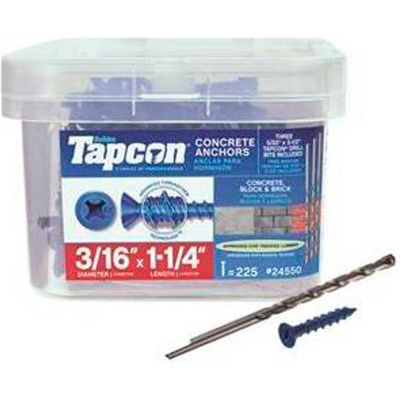 "ITW Tapcon Concrete Anchor - 3/16 x 1-1/4"" - Phillips Flat Head - Pkg of 225 - 24550"