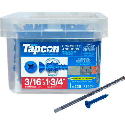 "ITW Tapcon Concrete Anchor - 3/16 x 1-3/4"" - Phillips Flat Head - Pkg of 225 - 24555"
