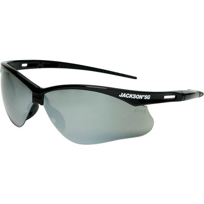 Jackson Safety SG Safety Glasses Black Frame Smoke Mirror Lens Anti-Scratch