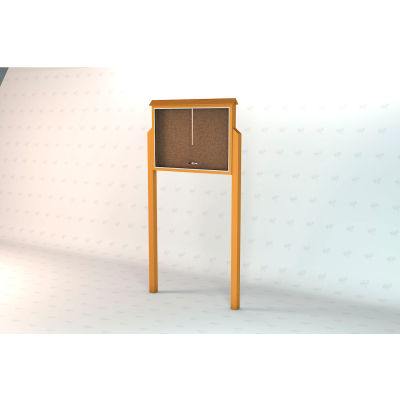 """Frog Furnishings Large Message Center, Recycled Plastic, One Side, Two Posts, Cedar, 51""""W x 36""""H"""