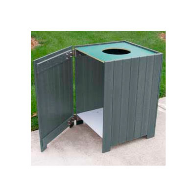 Standard Square Receptacle, Recycled Plastic, 20 Gal., Gray