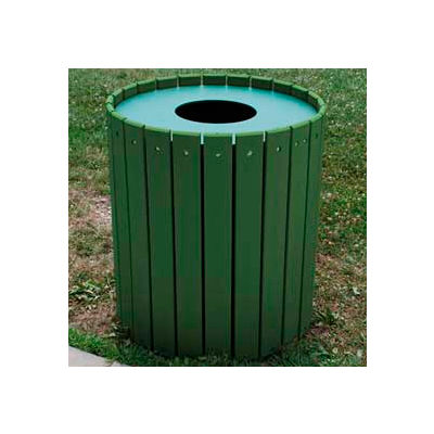 Standard Round Receptacle, Recycled Plastic, 32 Gal., Green