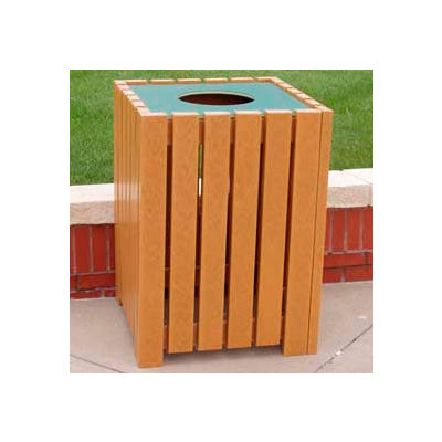 Heavy Duty Square Receptacle, Recycled Plastic, 32 Gal., Cedar