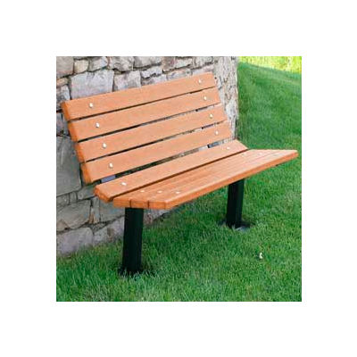 Frog Furnishings Recycled Plastic 4 ft. Contour Bench, Cedar Bench/Black Frame, In Ground Mount