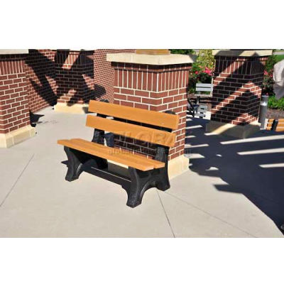 Frog Furnishings Recycled Plastic 4 ft. Colonial Bench, Cedar Bench/Black Frame