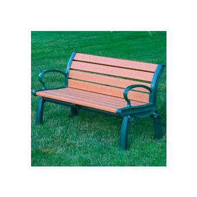 Frog Furnishings Recycled Plastic 4 ft. Heritage Bench, Cedar Bench/Green Frame