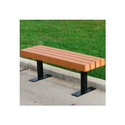 Frog Furnishings Recycled Plastic 4 ft. Trailside Bench, Cedar Bench/Black Frame