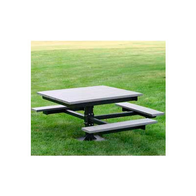 Frog Furnishings Recycled Plastic 4 ft. T-Table, ADA, Gray
