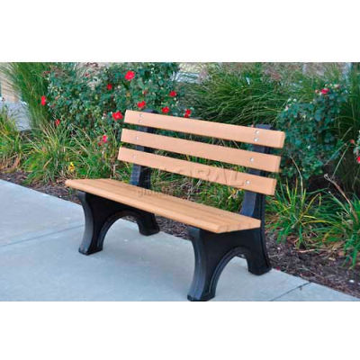 Frog Furnishings Recycled Plastic 4 ft. Comfort Park Avenue Bench, Gray Bench/Black Frame