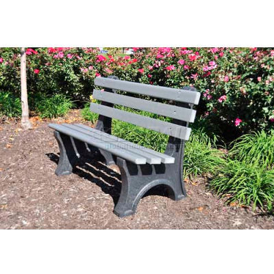 Frog Furnishings Recycled Plastic 4 ft. Central Park Bench, Gray Bench/Black Frame
