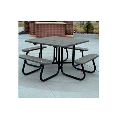 Frog Furnishings Recycled Plastic 4 ft. Square Picnic Table, Gray