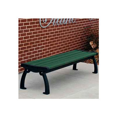 Frog Furnishings Recycled Plastic 4 ft. Heritage Backless Bench, Green Bench/Black Frame
