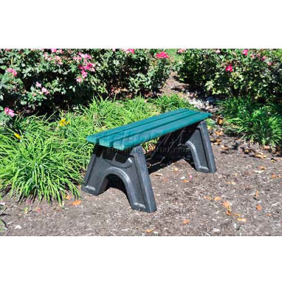 Frog Furnishings Recycled Plastic 4 ft. Sport Bench, Green Bench/Black Frame
