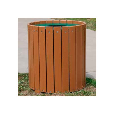 Standard Round Receptacle, Recycled Plastic, 55 Gal., Cedar
