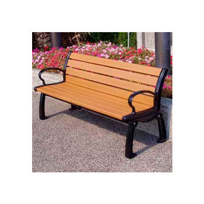 Frog Furnishings Recycled Plastic 5 ft. Heritage Bench, Cedar Bench/Black Frame