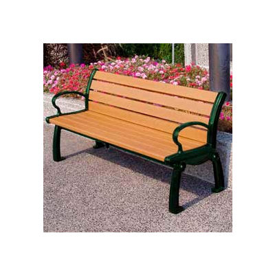 Frog Furnishings Recycled Plastic 5 ft. Heritage Bench, Cedar Bench/Green Frame