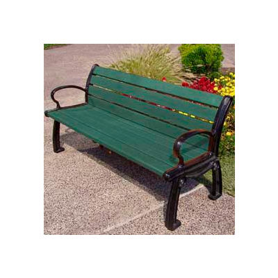 Frog Furnishings Recycled Plastic 5 ft. Heritage Bench, Green Bench/Black Frame
