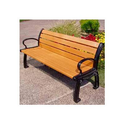 Frog Furnishings Recycled Plastic 6 ft. Heritage Bench, Cedar Bench/Black Frame