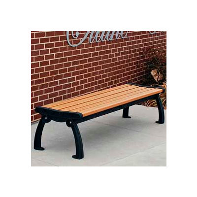 Frog Furnishings Recycled Plastic 6 ft. Heritage Backless Bench, Cedar Bench/Black Frame