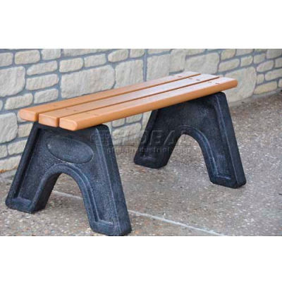 Frog Furnishings Recycled Plastic 6 ft. Sport Bench, Cedar Bench/Black Frame