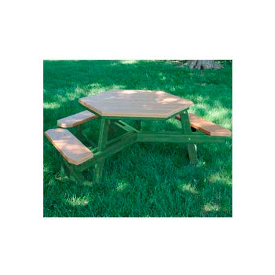 Frog Furnishings Recycled Plastic 6 ft. Hex Table Green Frame, ADA, Cedar