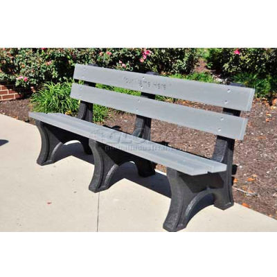 Frog Furnishings Recycled Plastic 6 ft. Colonial Bench, Gray Bench/Black Frame