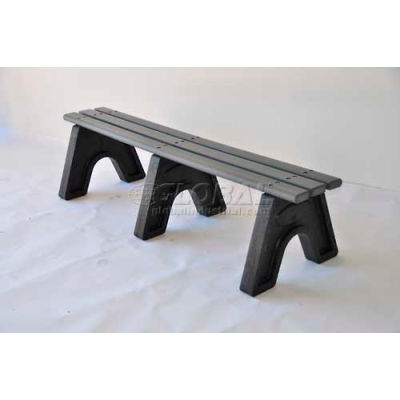 Frog Furnishings Recycled Plastic 6 ft. Sport Bench, Gray Bench/Black Frame