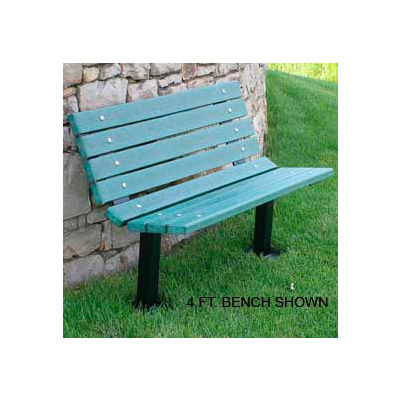 Frog Furnishings Recycled Plastic 6 ft. Contour Bench, Green Bench/Black Frame, In Ground Mount