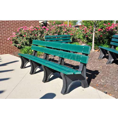 Frog Furnishings Recycled Plastic 6 ft. Colonial Bench, Green Bench/Black Frame