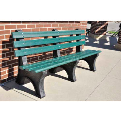 Frog Furnishings Recycled Plastic 6 ft. Central Park Bench, Green Bench/Black Frame