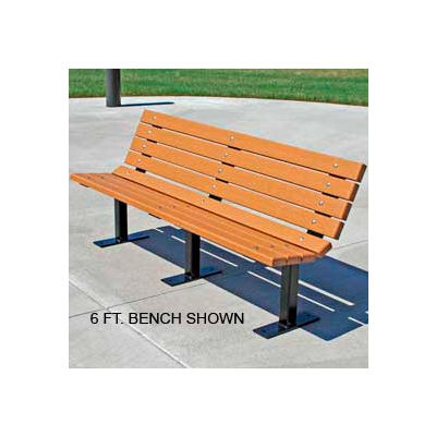 Frog Furnishings Recycled Plastic 8 ft. Contour Bench, Cedar Bench/Black Frame