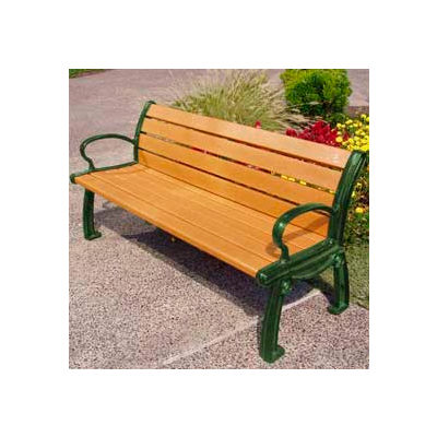 Frog Furnishings Recycled Plastic 8 ft. Heritage Bench, Cedar Bench/Green Frame