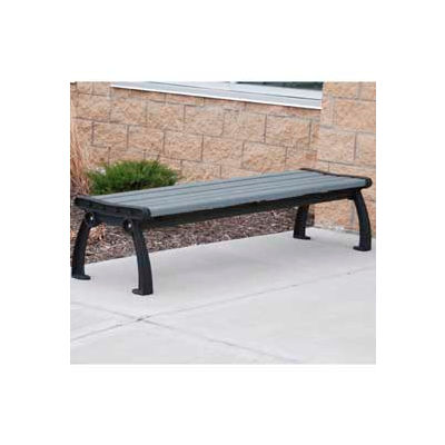 Frog Furnishings Recycled Plastic 8 ft. Heritage Backless Bench, Gray Bench/Black Frame