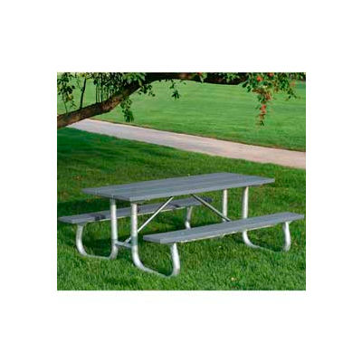 Frog Furnishings Recycled Plastic 8 ft. Galvanized Frame Picnic Table, Gray