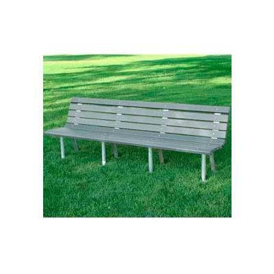 Frog Furnishings Recycled Plastic 8 ft. St. Pete Bench, Gray Bench/Aluminum Frame