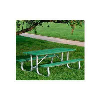 Frog Furnishings Recycled Plastic 8 ft. Galvanized Frame Picnic Table, Green