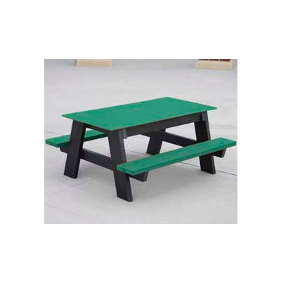 Frog Furnishings Recycled Plastic 4 ft. Kids Picnic Table, Green
