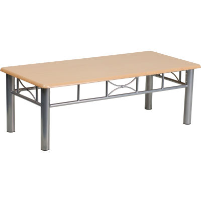 Flash Furniture Natural Laminate Coffee Table - Silver Steel Frame