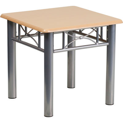Flash Furniture Natural Laminate End Table - Silver Steel Frame