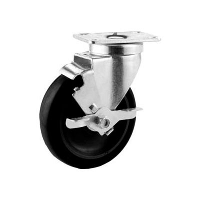 "GD Swivel Plate Caster 4"" Poly Wheel Total Lock Brake, Delrin Bearing, 2-1/2""x3-5/8"" Plate, Black"