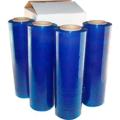 "Hand Stretch Wrap Film, Cast, 18"" x 1500', 80 Gauge, Blue Tint - Pkg Qty 4"