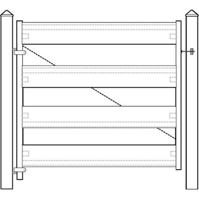 "Adjust-A-Gate II AG24006 Ranch Style Fence Gate Frame 4 Rail Kit 72""W x 44""H, White"