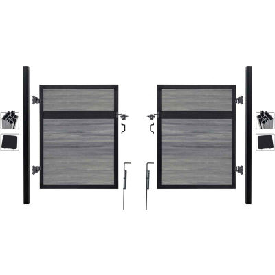 Estate 10'W x 6'H Oxford Grey Aluminum/Composite Adjustable Fence Double Gate Kit- IN GROUND ONLY