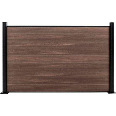Full Composite 6'W x 4'H King Cedar Aluminum/Composite Horizontal Fence-Starter Section-SURFACE MT