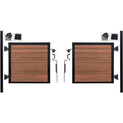 Full Composite 10'Wx4'H King Cedar Aluminum/Composite Adj Fence Double Gate Kit- IN GROUND ONLY