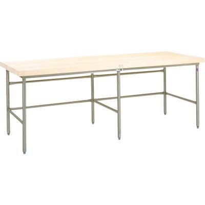 """John Boos Bakery Production Table Frame - NSF Galvanized Legs & Bin Stop Stringer 120""""W x 30""""D"""