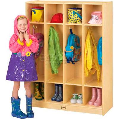 """Jonti-Craft® Kid Coat Locker, 4 Wide, 39""""W x 15""""D x 50-1/2""""H, Birch Plywood"""