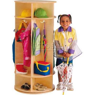 """Jonti-Craft® Revolving Kid Coat Locker, 5 Wide, 24""""W x 24""""D x 50-1/2""""H, Birch Plywood"""
